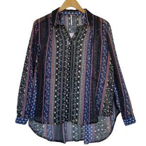 Free People Black Comb Sheer Button Up Blouse